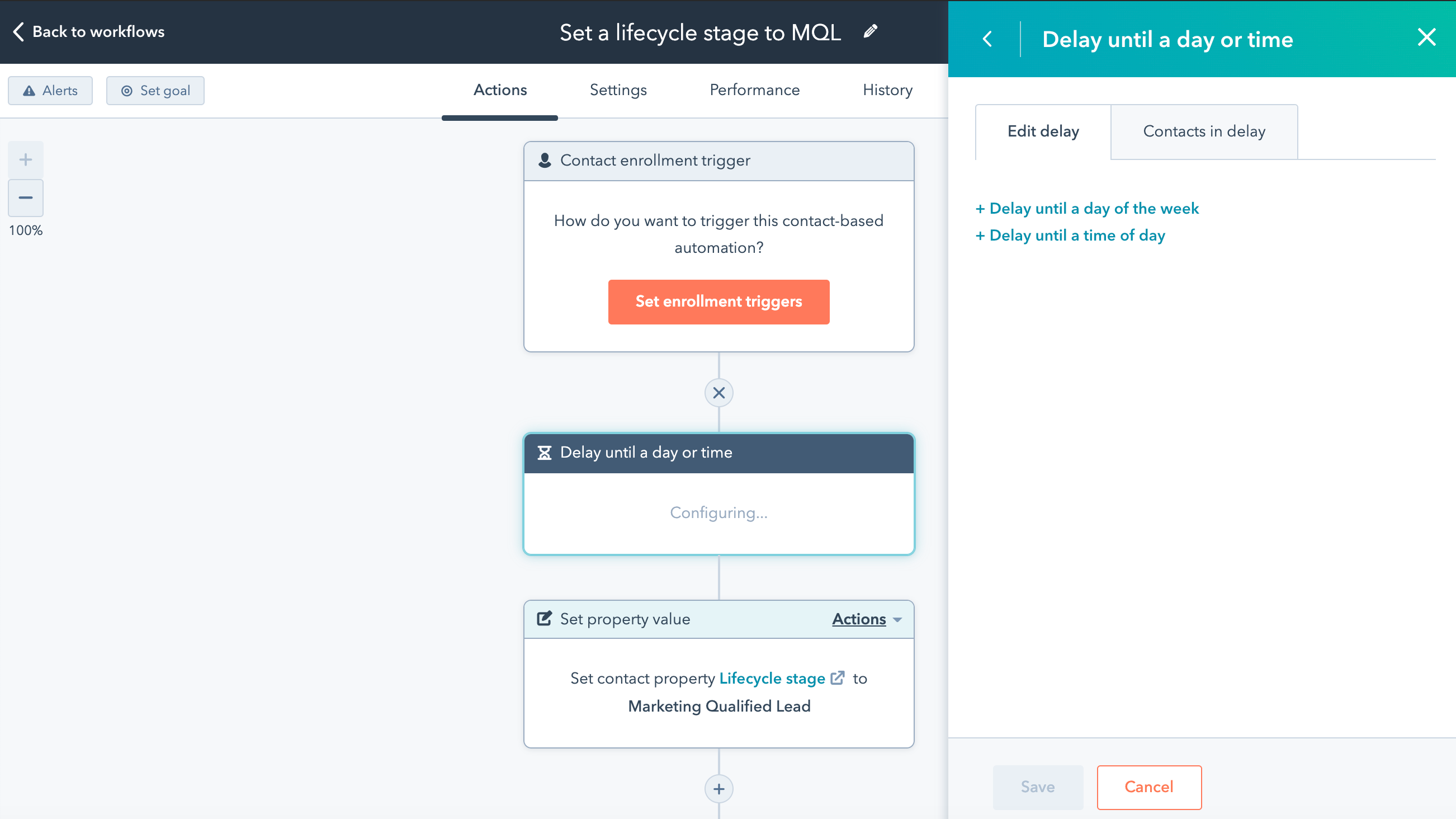 "HubSpot workflow ""delay until"" functionality"