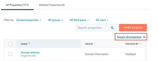 Export all properties in a file.