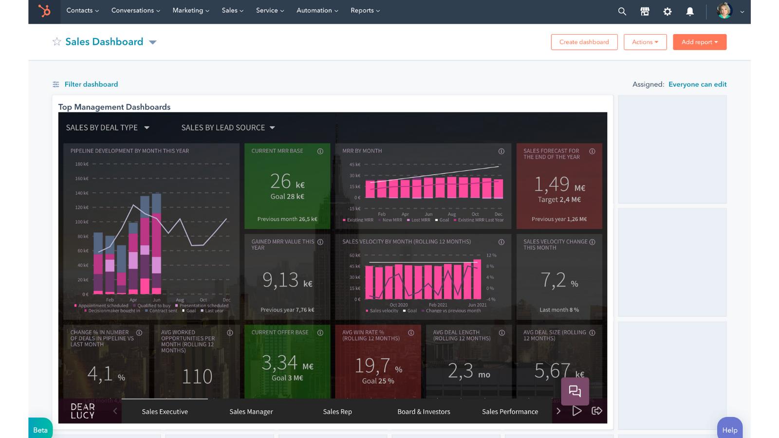 Dear Lucy - embed external content on dashboard - hubspot update june 21