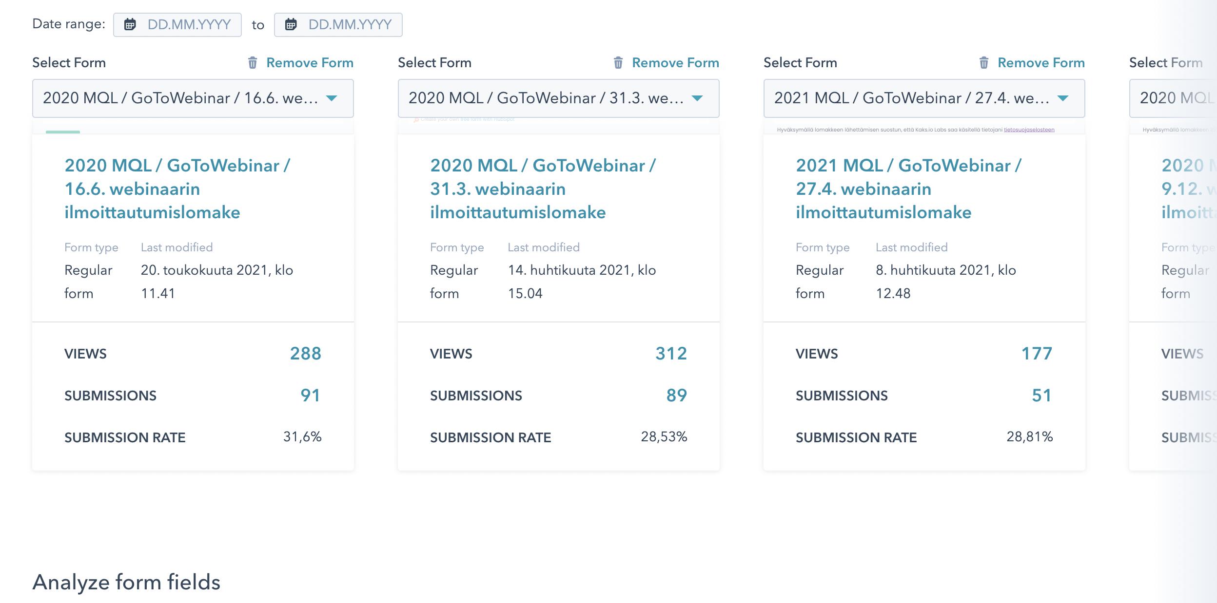 Forms comparison tool 2-HS updates August 21