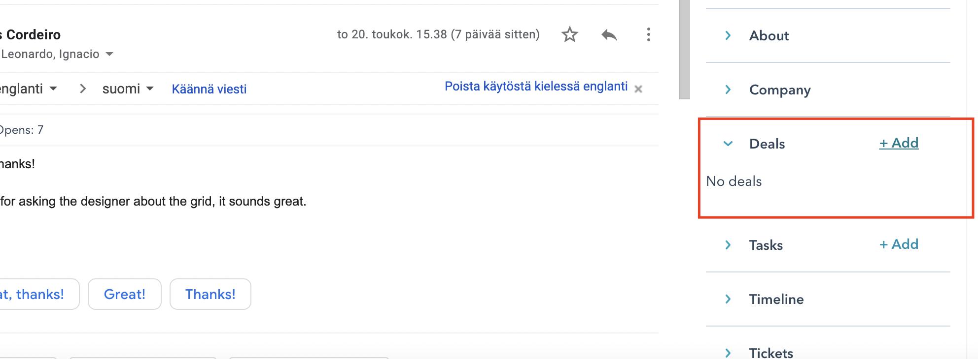 Create HubSpot deals from Gmail