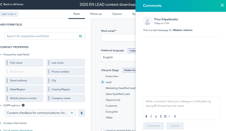 Commenting on forms in HubSpot