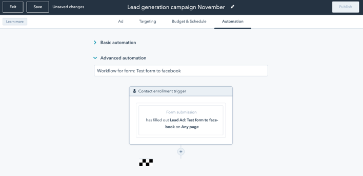 Embedded workflows in Ad campaign creation