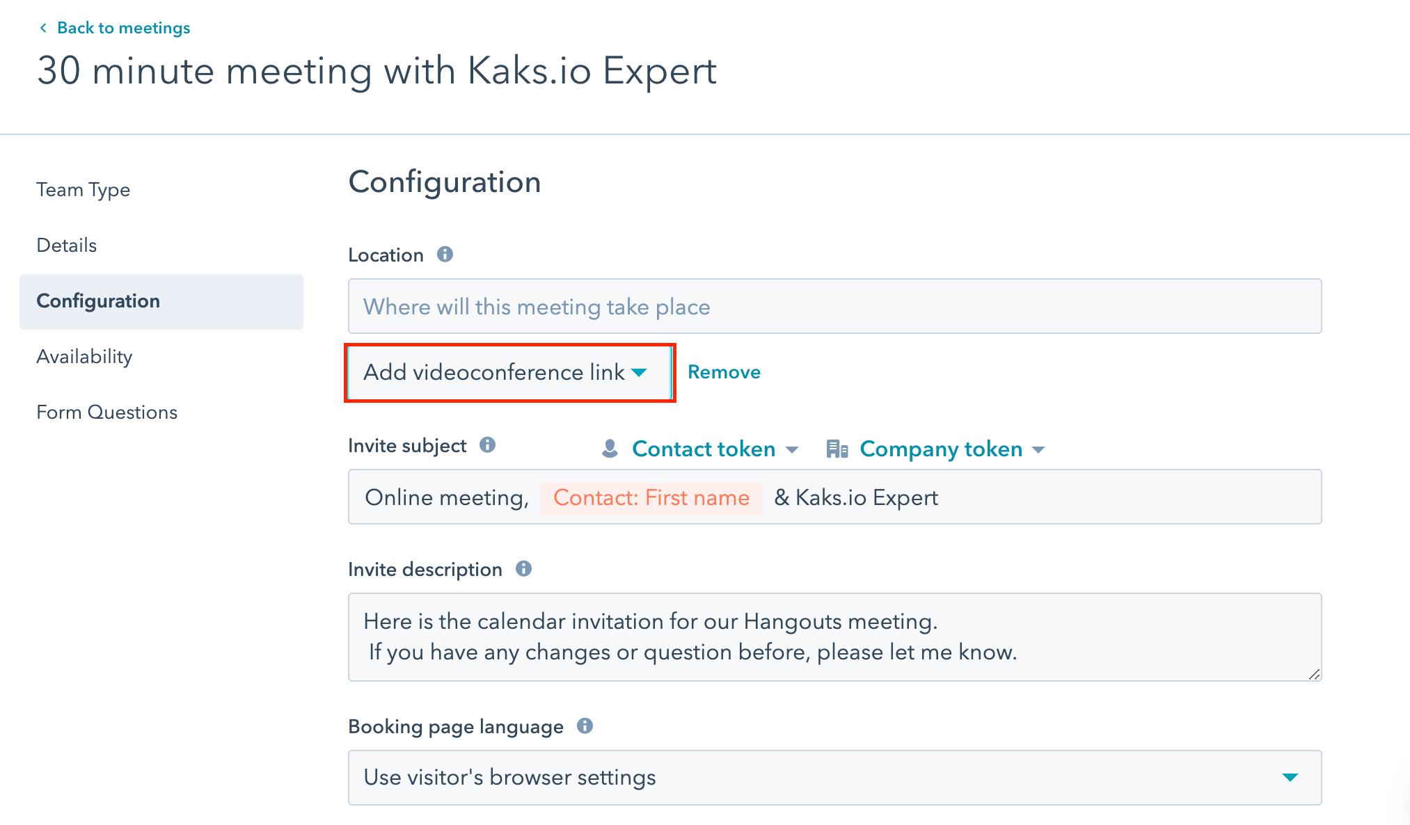 HubSpotin Google Meet -toimiton meetings-työkalussa