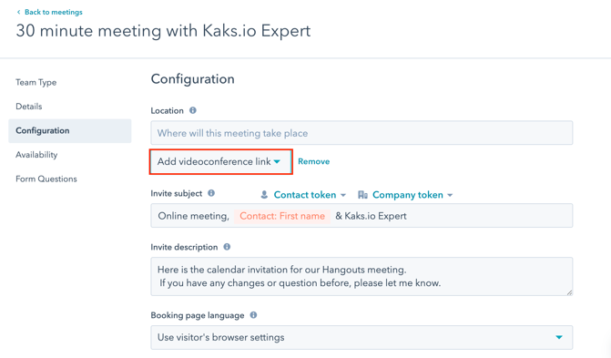 Add Google Meet links to HubSpot meetings-module