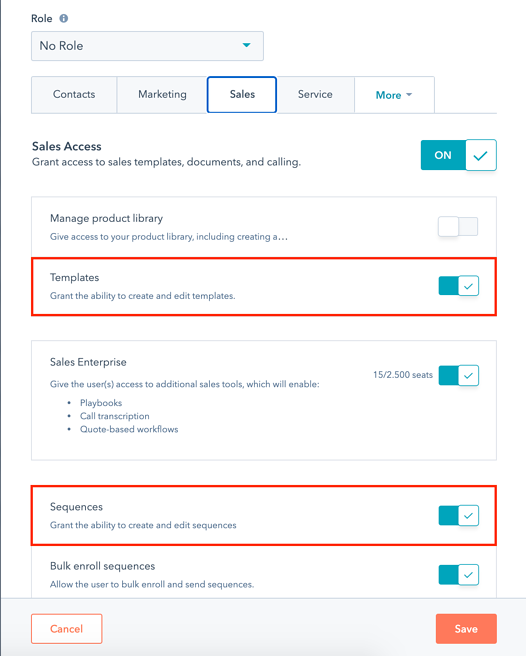 Edit user permissions to manage templates and sequences in HubSpot