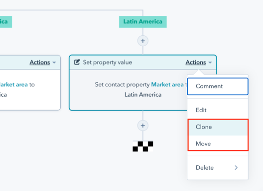 Clone and move workflow actions in HubSpot
