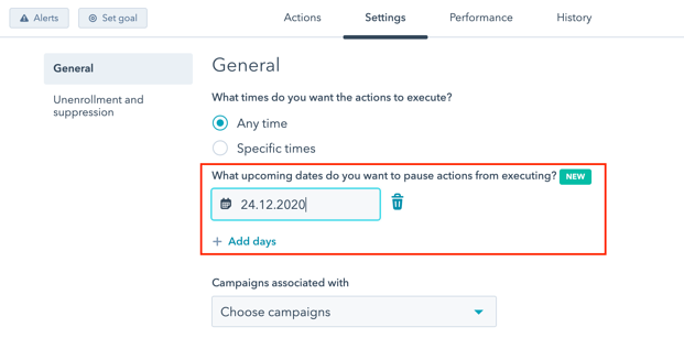 Exclude dates when the actions should not activate in hubSpot workflows