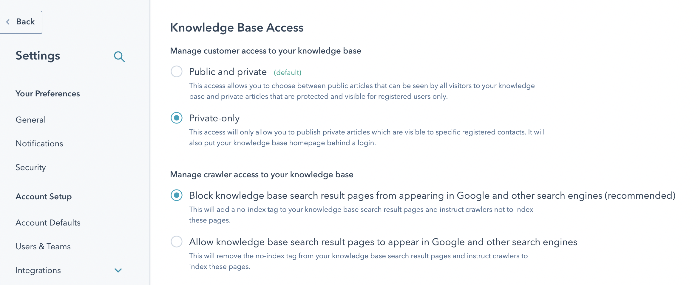 HS Updates Sep_Knowledge Base Settings