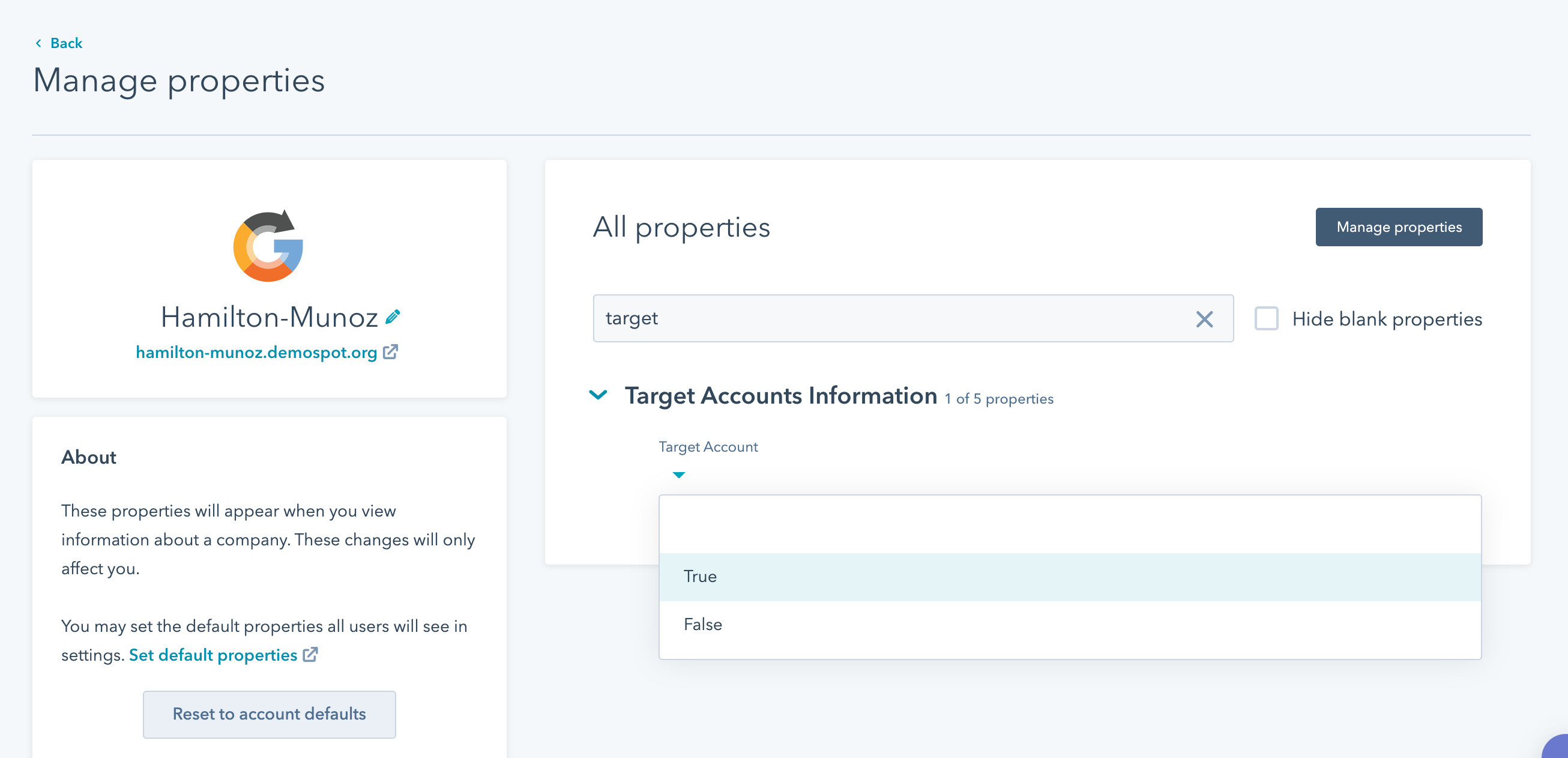Set a target account at HubSpot ABM toolset